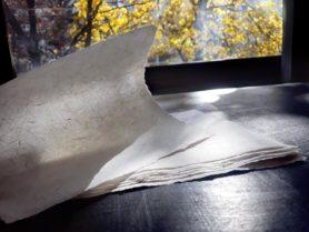 Рисунок волокон пеньковой бумаги на просвет